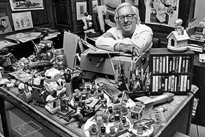Ray Bradbury at his desk